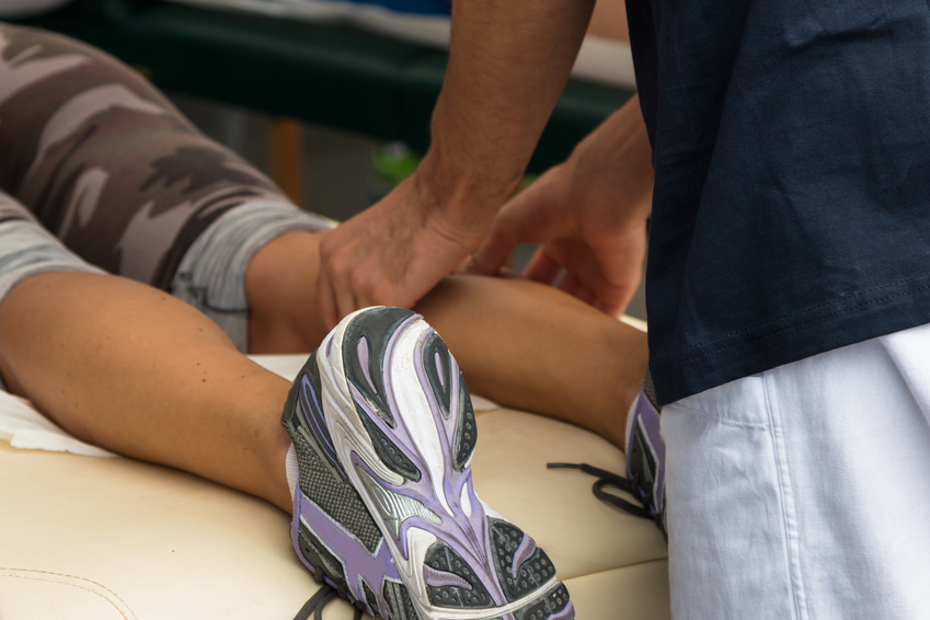 Athlete's Calf Muscle Professional Massage Treatment after Sport Workout, Fitness and Wellness